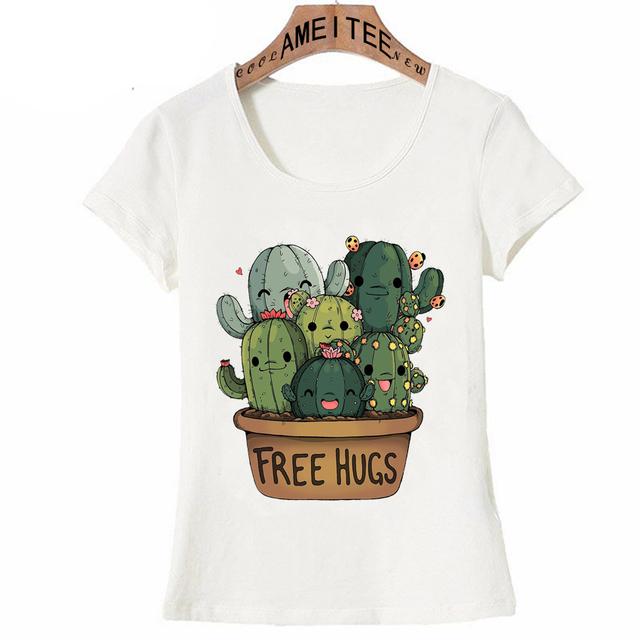 Free Hugs Cactus Print T-Shirt