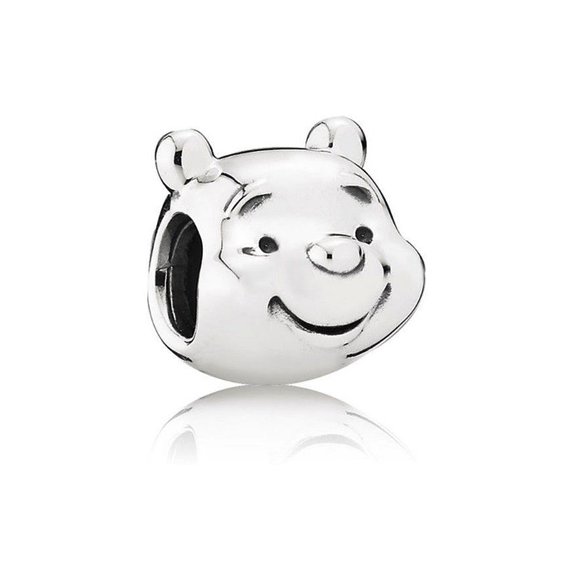 Winnie-The-Pooh Portrait Charm Beads 100% 925 Sterling Silver DIY Jewelry Fit pandora charms silver 925 original