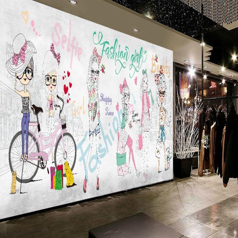 Custom photo wallpaper Hand painted fashion girl mural custom clothing store shopping center background wallpaper