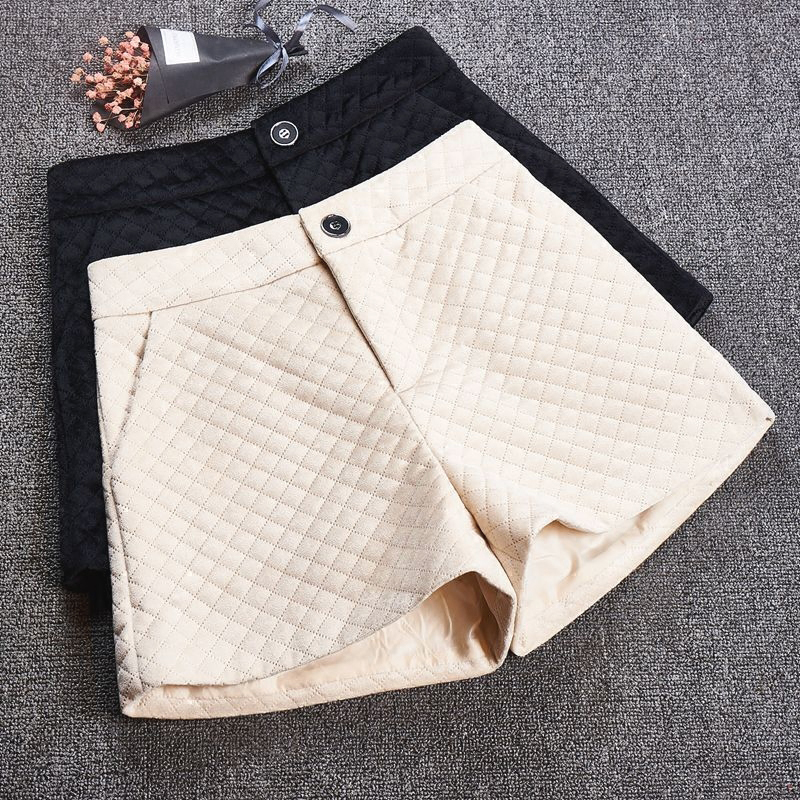 Women's Autumn Winter Outerwear Shorts High Waist Loose Short Velvet Casual Wide Leg Pants Shorts Pantalones Cortos Mujer 2XL