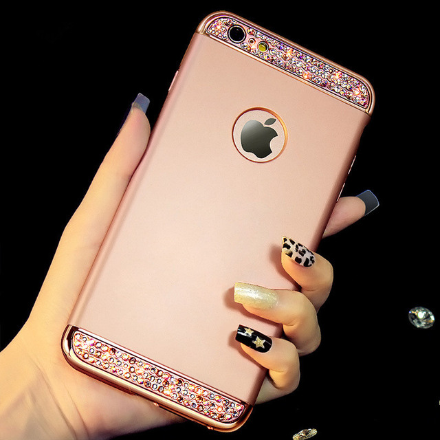 Moda Anti-konck PC Hard Case Telefone Para iphone Xs max XR X 7 8 Capa Bling Rhinestone Shell para iphone 6 6s plus 5 5s se capa