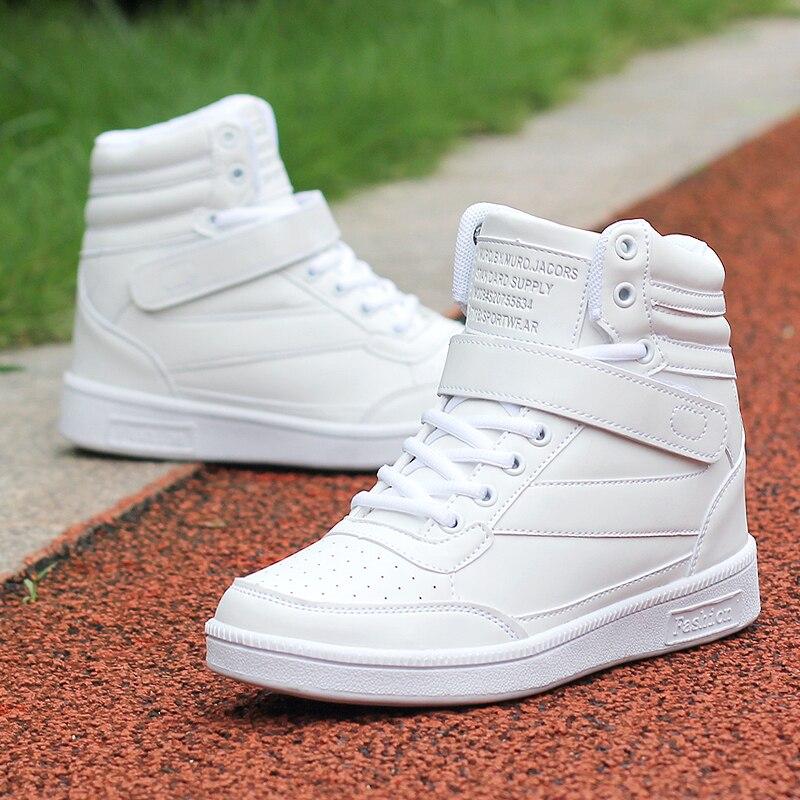 Новинка 2017 г. весенние ботильоны обувь на каблуке женская спортивная обувь увеличивающая рост высокие кроссовки смешанных Zapatillas Deportivas Mujer