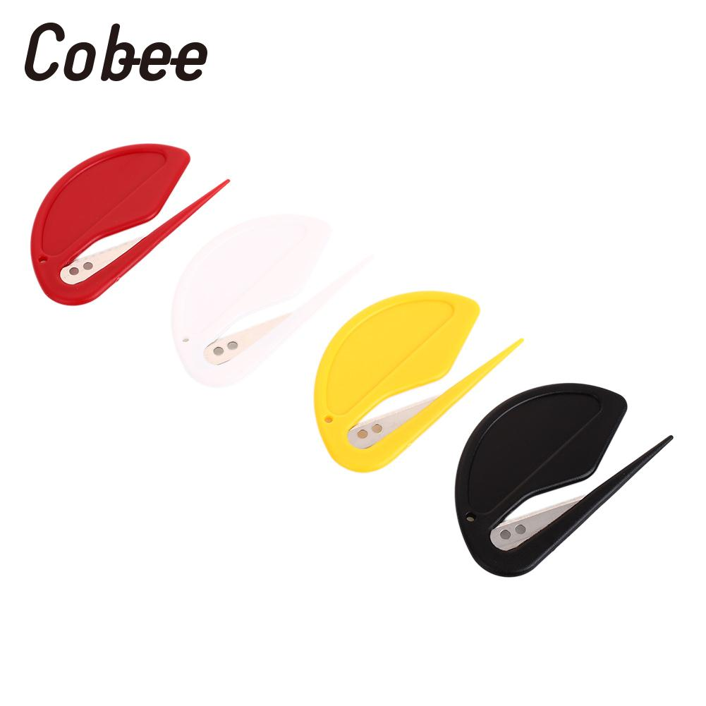 2Pcs/Set Plastic Mini Letter Knife Letter Mail Envelope Opener Safety Paper Guarded Cutter Blade Office Equipment
