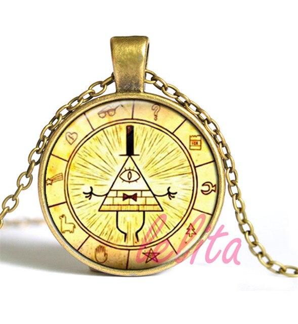 gravity falls mysteries pendant necklace bill cipher wheel art