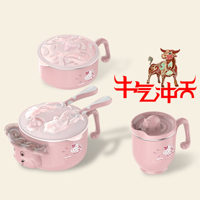 Children dishes set Baby tableware  Stainless feeding Insulated Sucker Spoon Fork Cup Heat preservation Anti hot Training bowl