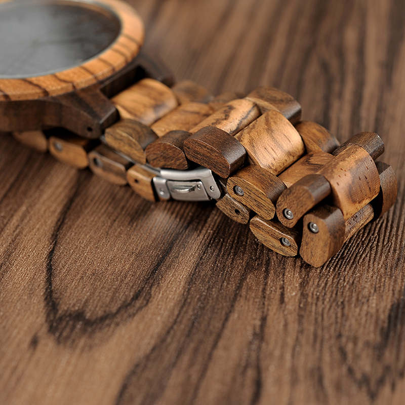 BOBO BIRD Wood Watch Meeste Walnut Ebony puidust rihma kvarts analoog - Meeste käekellad - Foto 6