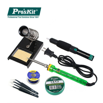 Pro'skit SI-131G 60W Adjustable Temperature Electric Soldering Iron Kit Suction Tin Device Solder Paste Tin Wire Welding plastic solder tin paste stirring scraper white