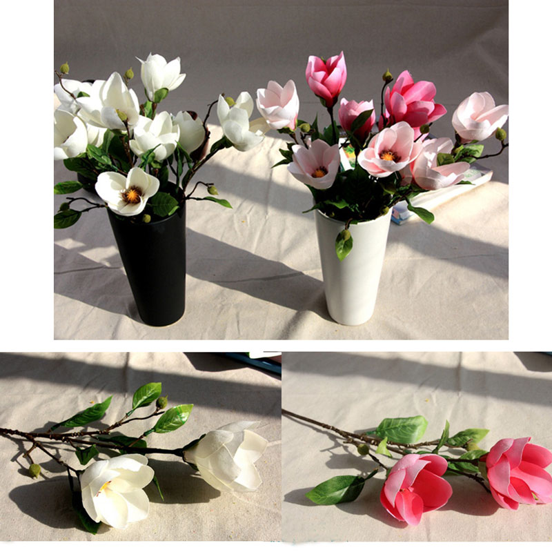 Hot Sale 10pcs/1 bouquet <font><b>Elegant</b></font> Artifical Fake Magnolia Weeding Party Gift <font><b>Home</b></font> <font><b>Decor</b></font> Flower