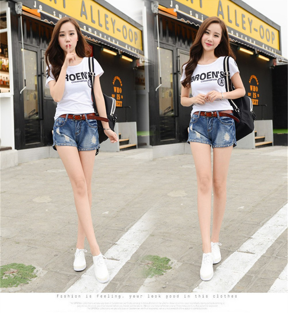Mainland Retro Mid waist Women Short Jeans Woman Denim Female Wild Short-Pants Summer Loose Short Fashion Plus size Short jeans  (14)