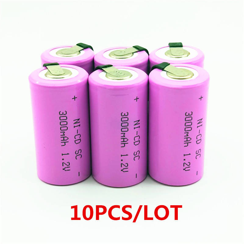 10pcs High quality battery rechargeable battery sub battery SC battery 1.2 v with tab 3000 mah for electrical tools