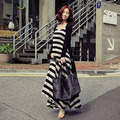Fashion Maternity Cardigan Stripe One-piece Dress Full Dress Twinset Clothing Clothes For Pregnant Women 2017