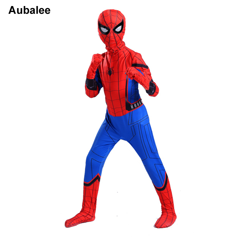 Spiderman Homecoming Costume For Kids Halloween New Boys Red Blue Spider-man Suit Marvel Comics Superhero Bodysuit With Mask