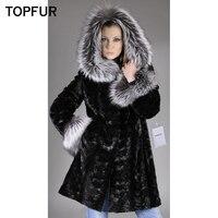 TOPFUR New Fashion Real Mink Fur Coat Women With Silver Fox Fur Inside Hood Black Color Natural Mink Fur Winter Warm Jacket