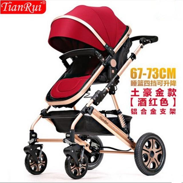 Cochecito de bebé plegable de dos vías amortiguadores en las cuatro ruedas del cochecito de bebé