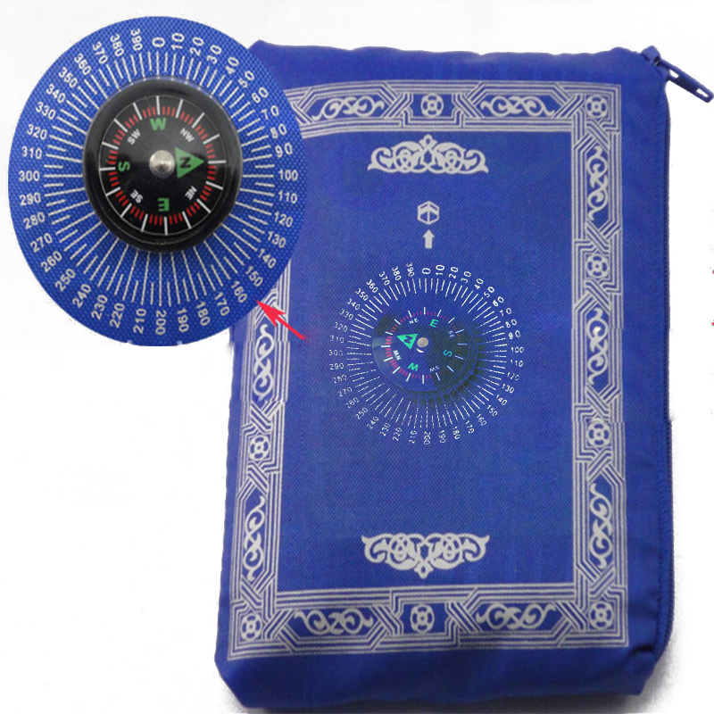 Image 2 - Muslim Prayer Rug Polyester Portable Braided Mats Simply Print  with Compass In Pouch Travel Home New Style Mat Blanket 100*60cmRug