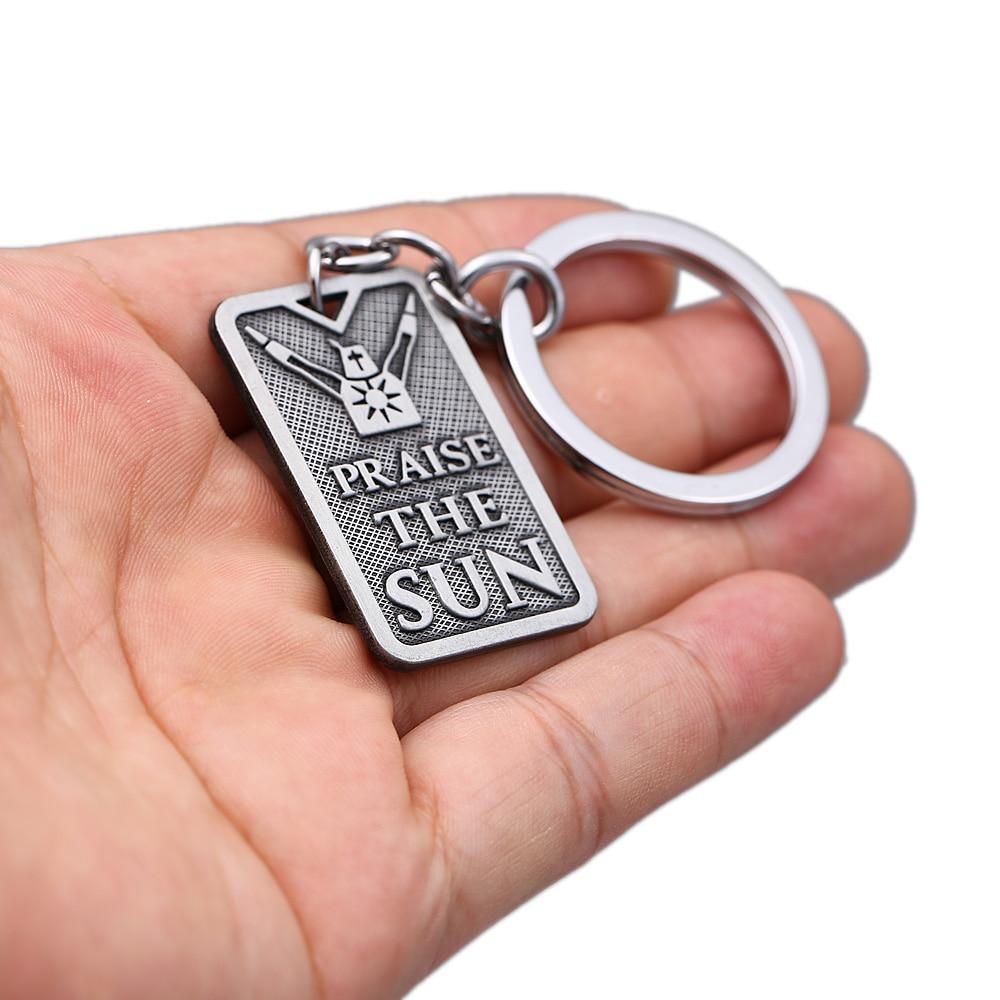 HSIC Dark Souls 3 Keychain PRAISE THE SUN Dog Tag Pendant Keyring Holder Women men Game Accessories llaveros para hombre HC12906