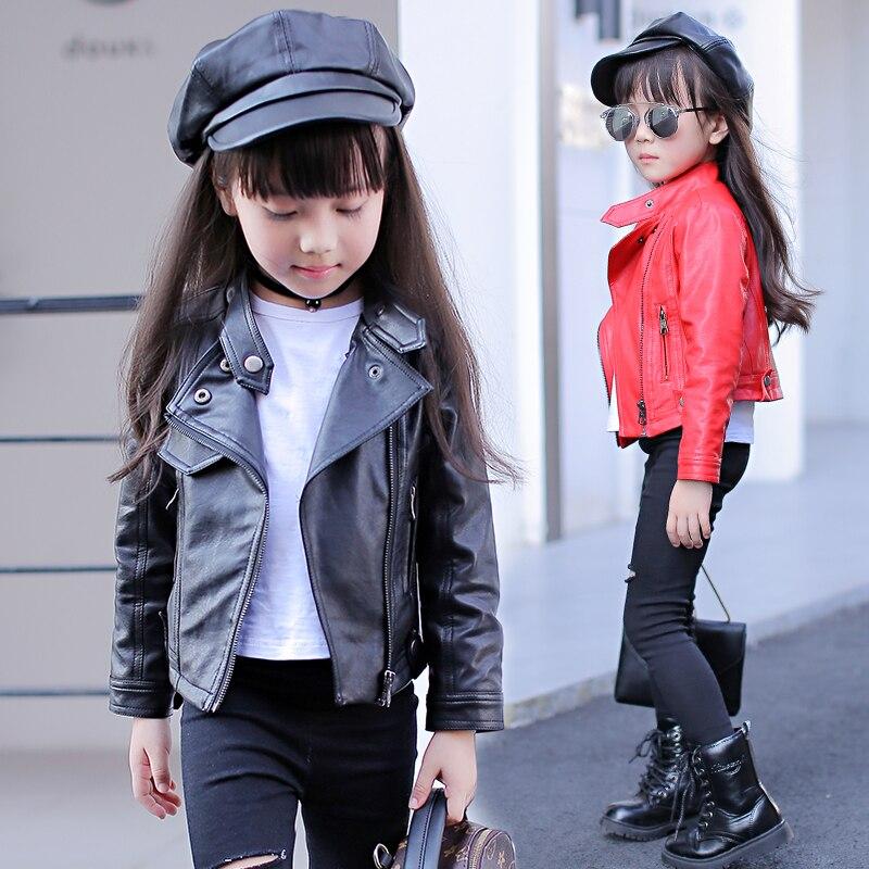 Демисезонный Босоножки из искусственной PU кожи для Обувь для девочек подростков одежда ребенка мотоцикл куртка-бомбер Пиджаки для женщин ...