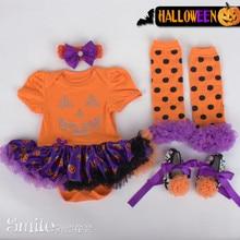 4PCS/0-12M/summer kids clothes 100% cotton Pumpkin Romper jumpsuit Headband shoes Tights halloween baby girl clothing set BC1311