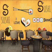 Custom wallpaper hand-painted Japanese restaurant sushi restaurant background decorative wall advanced waterproof material free shipping custom wallpaper mural retro japanese traditional culture restaurant sushi shop background wall painting deco