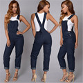 Autumn Fashion Hot New Women Jumpsuit Romper Casual Braces Blue Denim Slim Jeans Bodycon Lapel Woman Playsuit