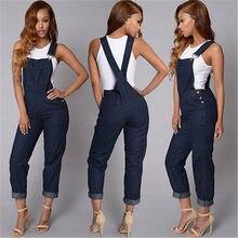 Autumn Fashion Hot New Women Jumpsuit Romper Casual Braces Blue Denim Slim  Jeans Bodycon Lapel Woman Playsuit e06af790b2d2