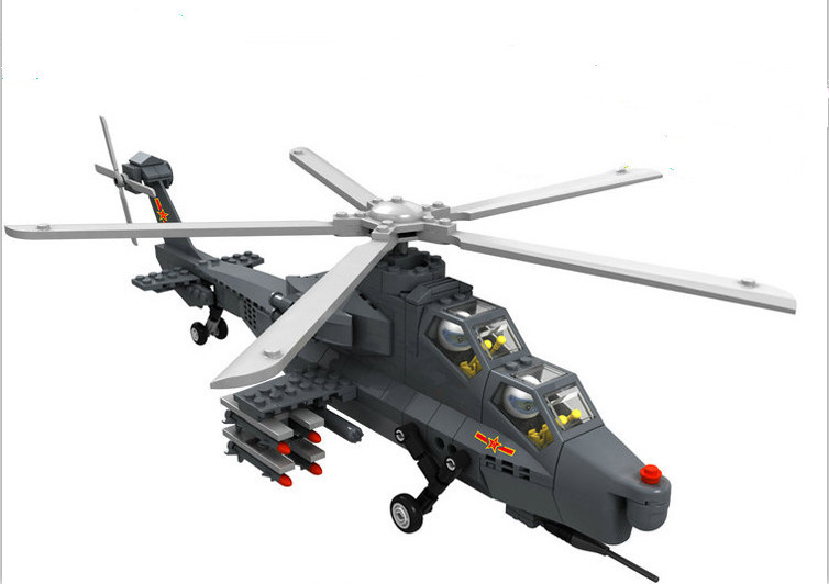 ФОТО Military Toy Fighter Modern Warfare  W-Z10 Gunship Helicopter 1:38 Model Building Block Sets Compatible With Lego