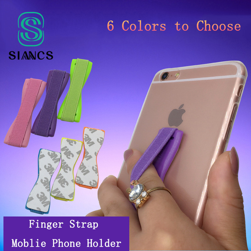 SIANCS For IPhone X Samsung Huawei Finger Sling Grip Elastic Band Strap Universal Phone Holder Stand For Mobile Phones Tablets