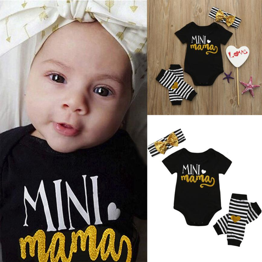 Low Price Loss Sale 2018 4Pcs Infant Kids Baby Girls Romper+Leg Warmer+Headband Clothes Outfit Set