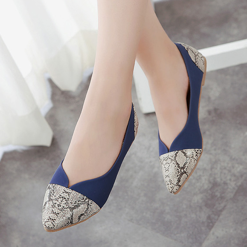 Super Top Quality Spring Summer Women Ballet Flats Comfortable PU Women's Casual Shoes Pointed Toe Snakeskin 35-42 new 2017 spring summer women shoes pointed toe high quality brand fashion womens flats ladies plus size 41 sweet flock t179