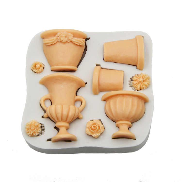 Luyou 1 pcs Hoa Nồi Bánh Khuôn Silicone Khuôn Fondant Khuôn Sô Cô La Khuôn Bánh Công Cụ Trang Trí Hoa Bánh Khuôn FM1801