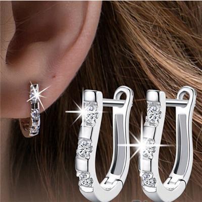92ec8aff3080a US $1.33 |New 1 Pair Fashion Silver Plated U shaped Earring Harp White Hoop  Earrings Women CC1235-in Hoop Earrings from Jewelry & Accessories on ...