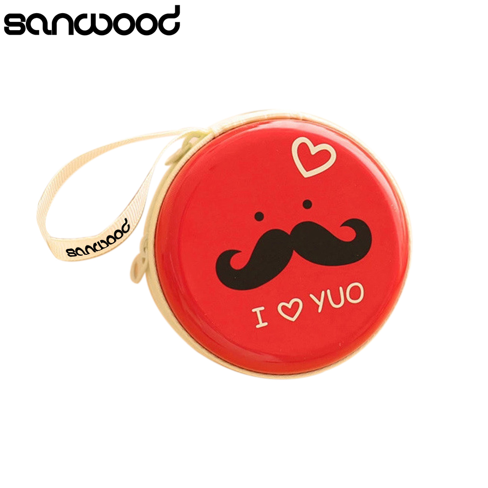 2016 New Design Round Mustache Coin Purse Earphone Key Case Zip Storage Bag Pouch Mini Wallet Gifts 9R3U