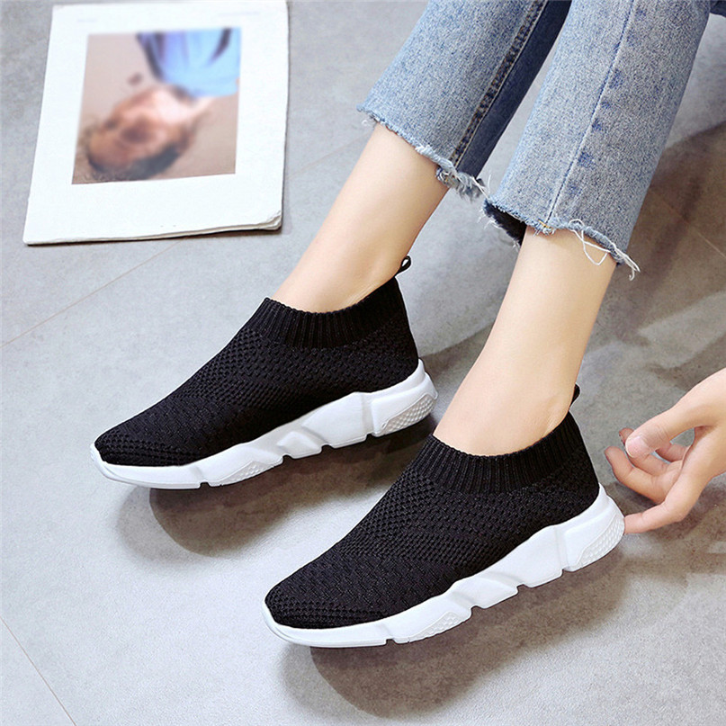 2018 New Outdoors adults trainers Running Shoes woman sock footwear sport athletic unisex breathable Mesh female Sneakers #2a (16)