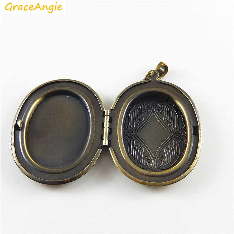 GraceAngie 1 ชิ้น Vintage สไตล์โบราณสีบรอนซ์ทองแดง Made รูปไข่คุณภาพสูงกรง Locket หน่วยความจำ Photo จี้เครื่องประดับ