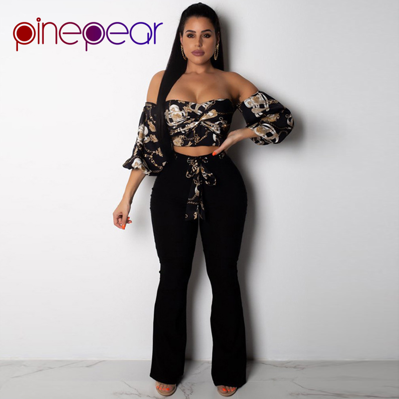 Wide Leg Pants Party Clothes Latest Fashion Pinepear Luxury New 2019 Plus Size 2 Two Piece Set Women Gold Chain Print 3/4 Sleeve Crop Top Suits & Sets