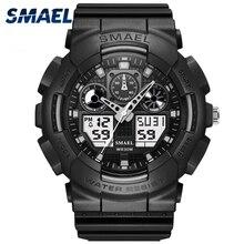 SMAEL D'origine de Sport Montre LED Numérique Étanche Hommes Montre Dual Time Montre-Bracelet Analogique-Numérique Militaire Horloge Hommes Cadeau WS1027