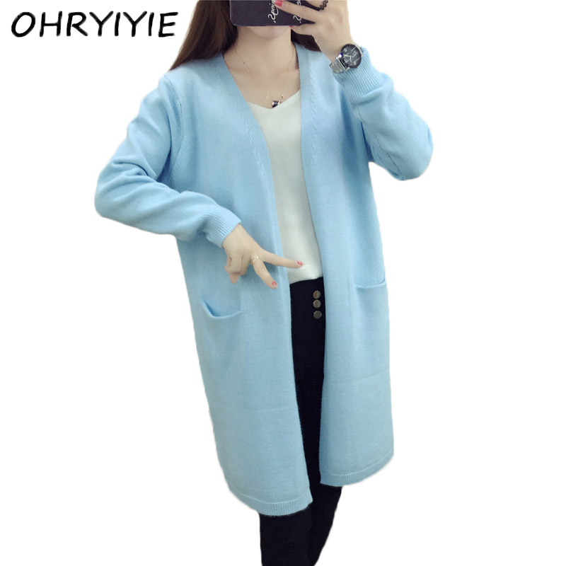 OHRYIYIE . Store OHRYIYIE Long Cardigan Sweater Women 2017 New Spring Autumn Long Sleeve Knitted Cardigans Female Tricot Lady Clothes Pull Femme