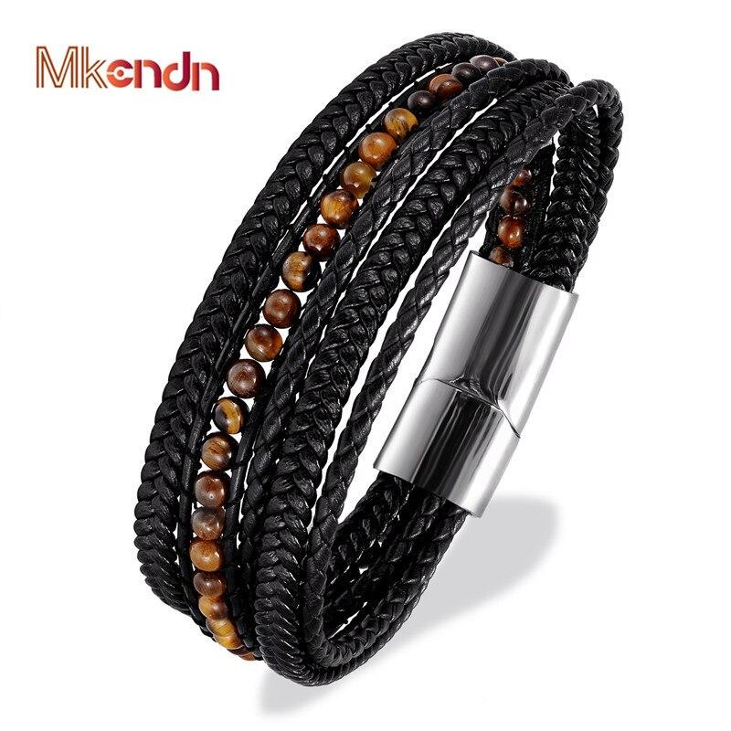 Vintage Male Black genuine Leather Bracelets 6mm Tiger Eyes Stone Wrap Bracelets Woven Multilayer Charm Bracelet luxury Jewelry