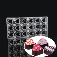 Heart Shape With Mirror Clear Magnetic Polycarbonate PC Chocolate Sheet Hard Plastic Magnet Transfer Handmade DIY Mould Moulds