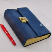 2014 Vintage Book A5 Handmade Cowhide Password Lock Diary Thick Note Book 2011607