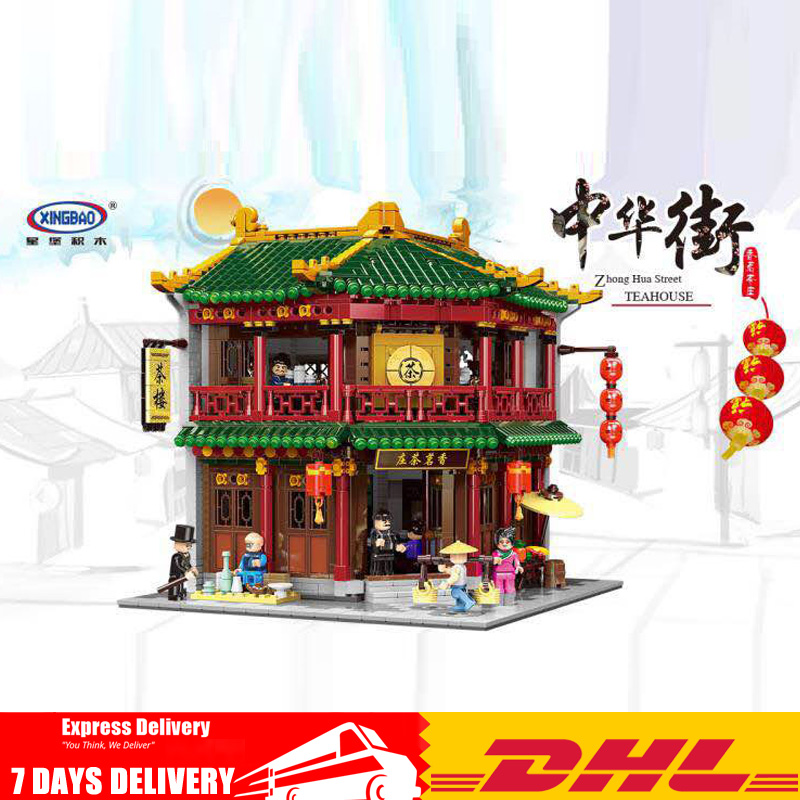 New XINGBAO 01021 3033Pcs Tea House Chinese Building Series The Toon Set Building Set Building Blocks Bricks Toys for Children