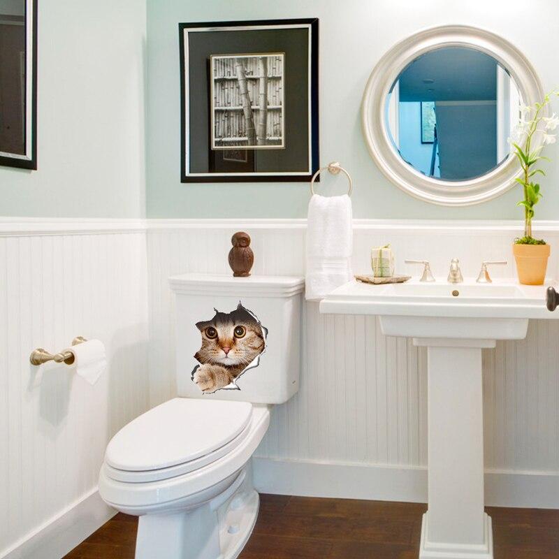 3D-kattmuren Klistermärke På Toalett Klistermärken Badrum - Heminredning - Foto 2
