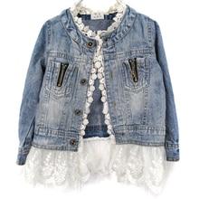 Girls Jean font b Jackets b font font b Kids b font Lace Coat Long Sleeve