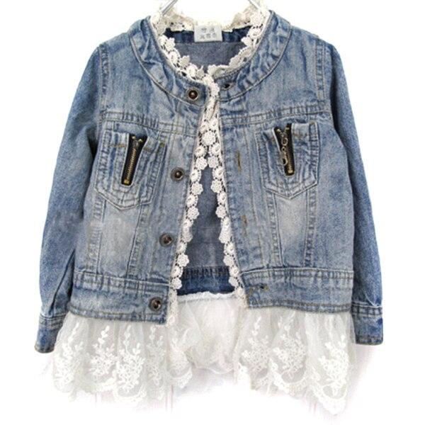 Ragazze Jean Giacche Per Bambini Lace Coat Button Manica Lunga Denim Giacche Per Le Ragazze-7Y
