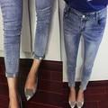 Европейские модные джинсы 2016 Весна Женский Череп Джинсы Тонкий Карандаш Брюки Джинсы с Блестками для Женщин