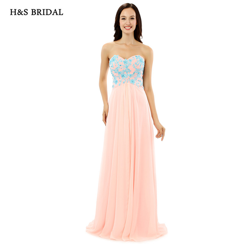Buy H&S BRIDAL Strapless Women Summer Chiffon Prom Evening Dresses Blue Appliques Light Pink Long Formal Evening Gowns