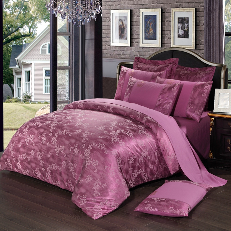 Home Textile Purple Satin Jacquard Bedding Set Adult Wedding Supple Luxury Bedlinen Cotton Duvet Cover Pillowcase pink bed SheetHome Textile Purple Satin Jacquard Bedding Set Adult Wedding Supple Luxury Bedlinen Cotton Duvet Cover Pillowcase pink bed Sheet