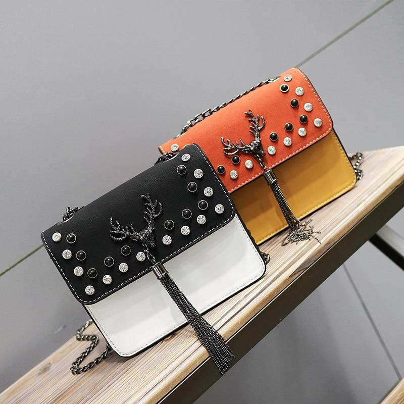 Women Pu Leather Top-Handle Crossbody Bag Ladies Handbag Lady Evening Bags Deer Female Rivet Messenger Shoulder Bag цена 2017