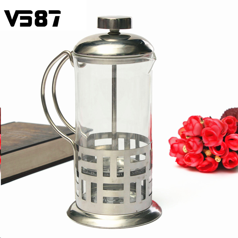 Kettle Style Coffee Maker : Stainless steel Pyrex Glass Coffee Pot Kettle French Press Style Tea Maker Filter Home Office ...