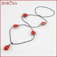 BOROSA 35inch Handcrafted Necklace For Women Natural Red Coral Drop 3mm Beads Necklace Rhinestone Pave Druzy
